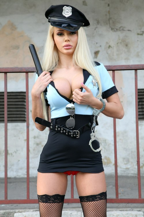 Girl in police uniform naked pussy bent over #1